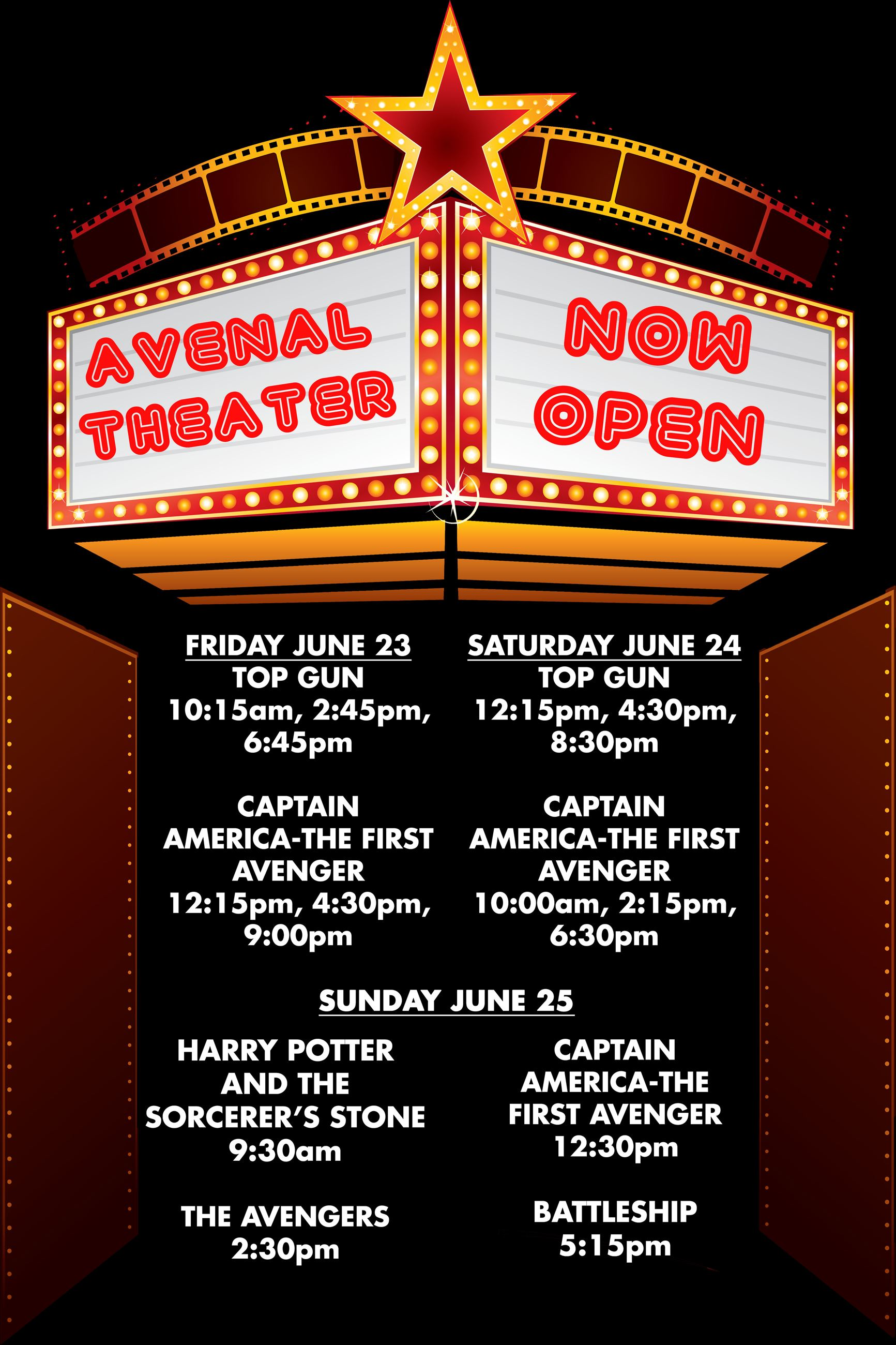 June Movie showings