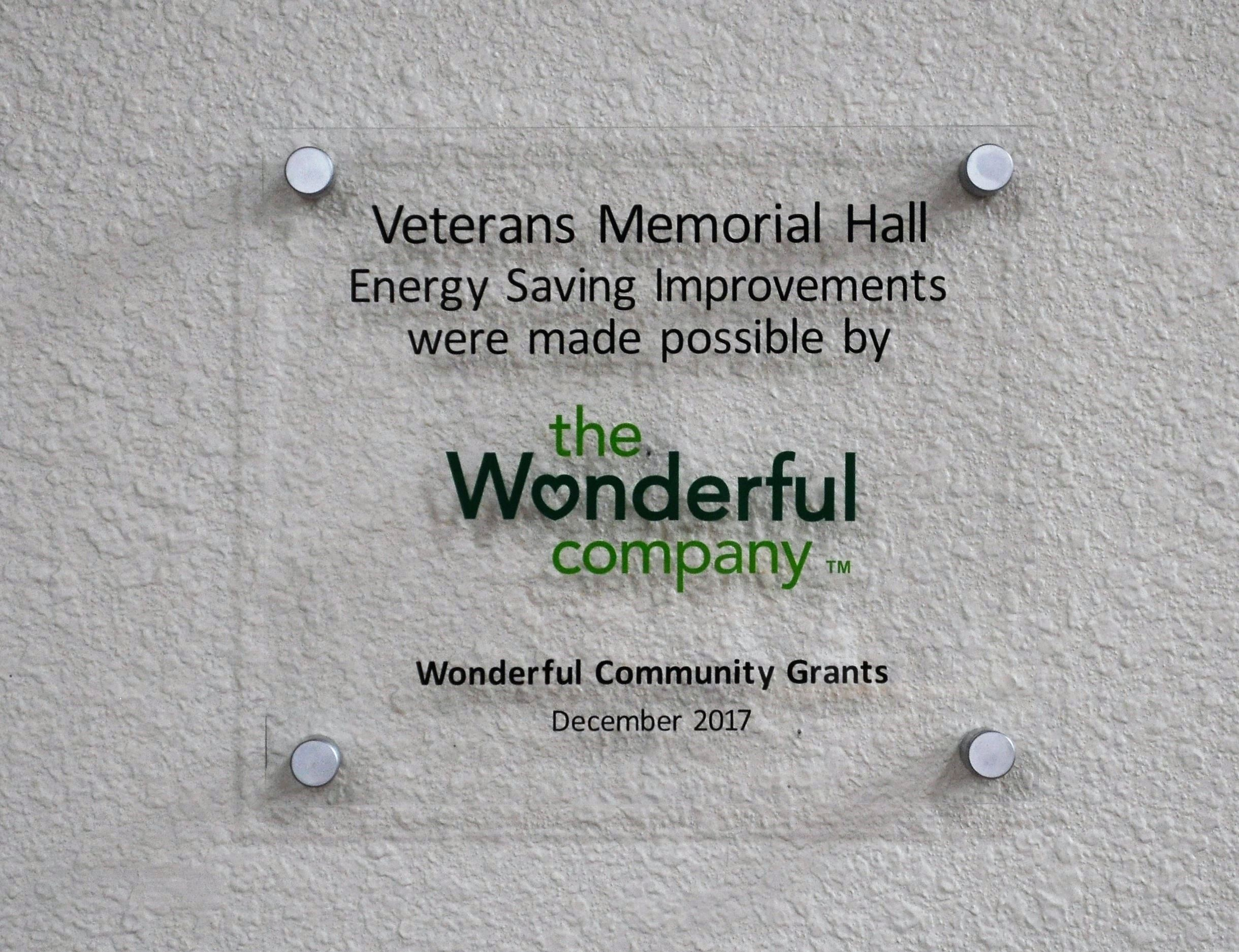 Veterans Hall Plaque Wonderful