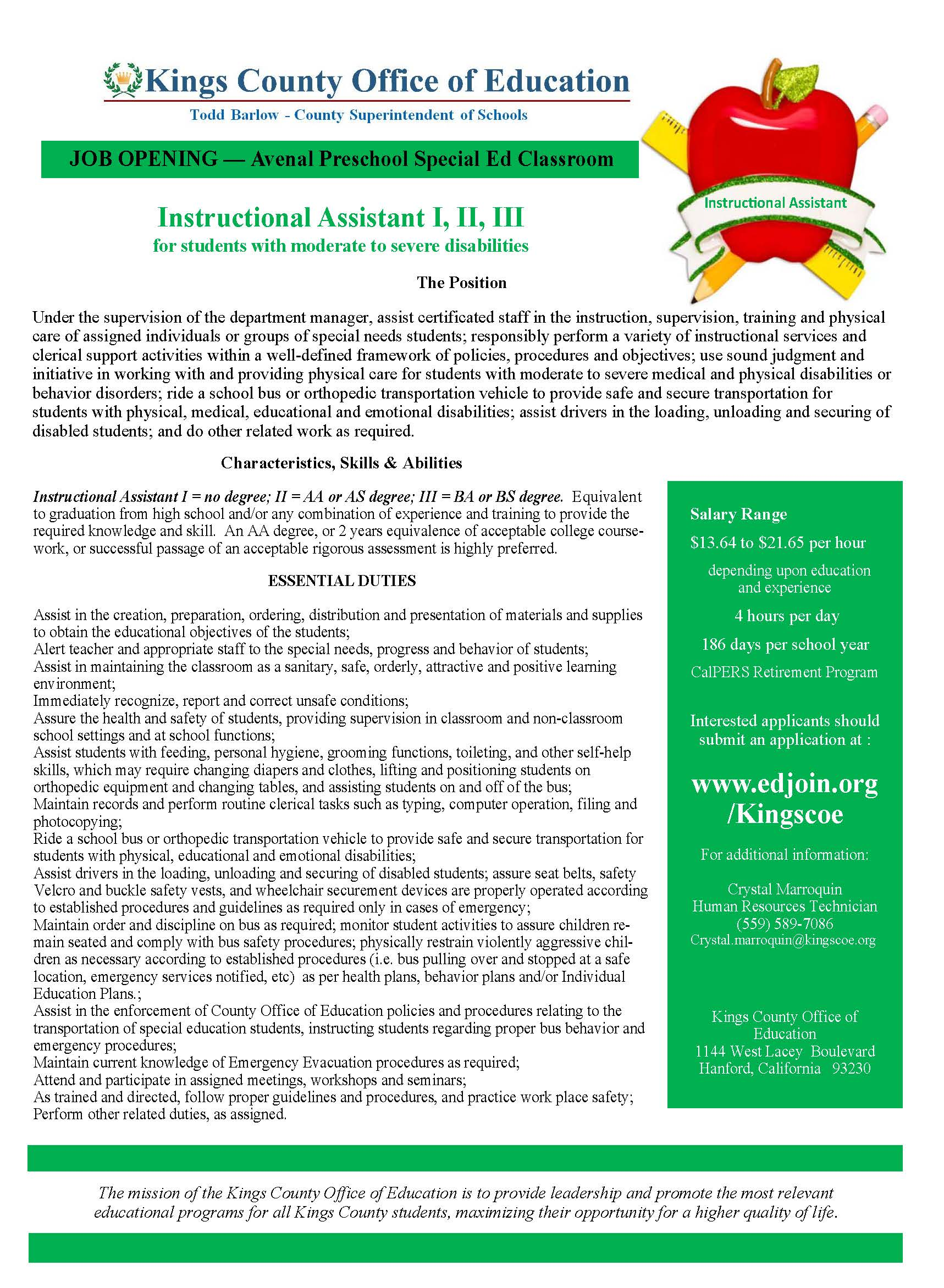 Instructional Assistant - Avenal preschool flyer
