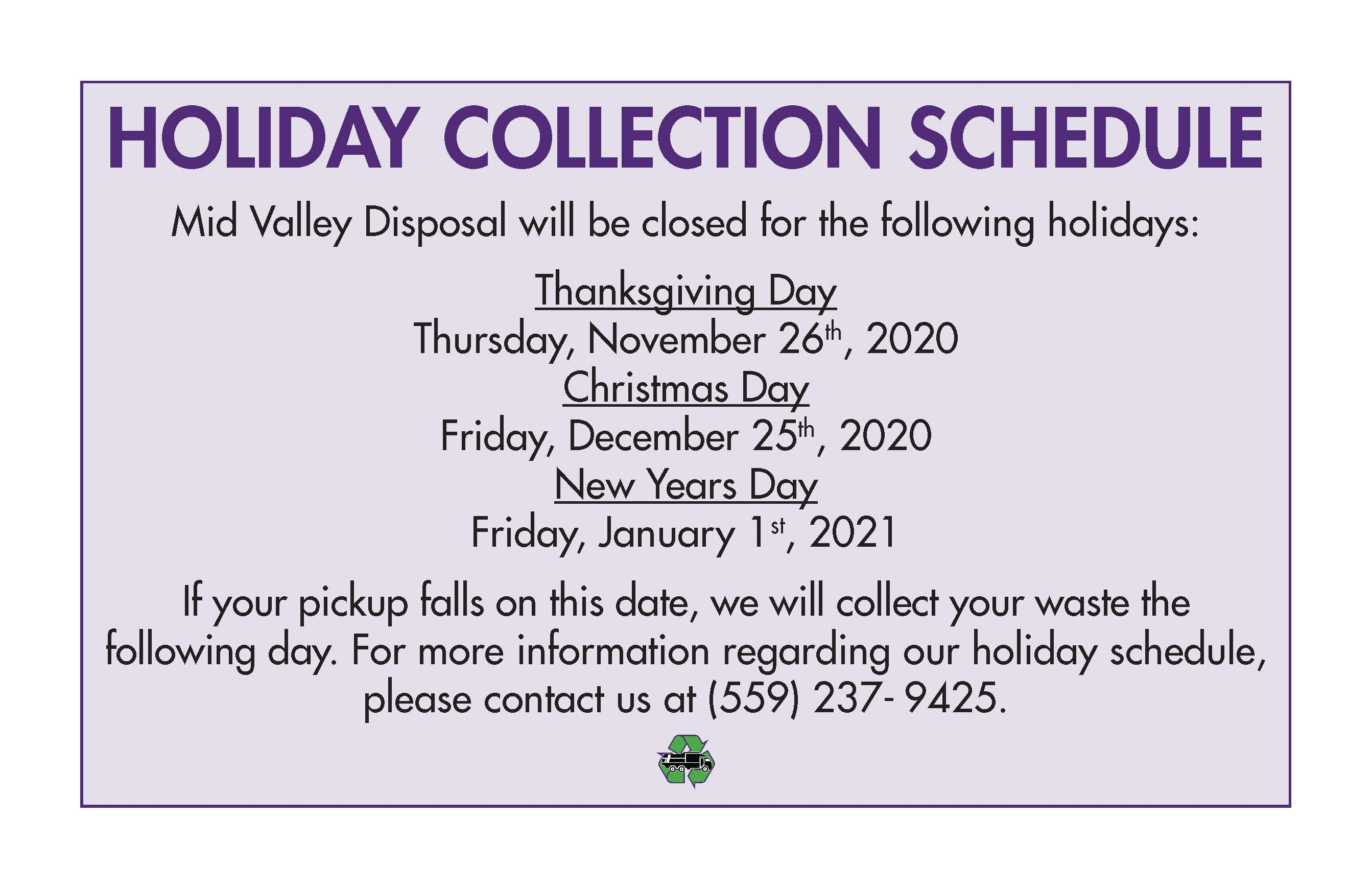 Holiday Collection Schedule 2020