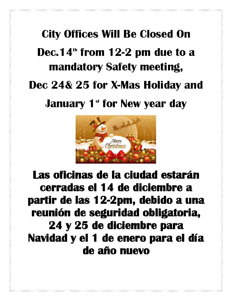 City Hall holiday schedule