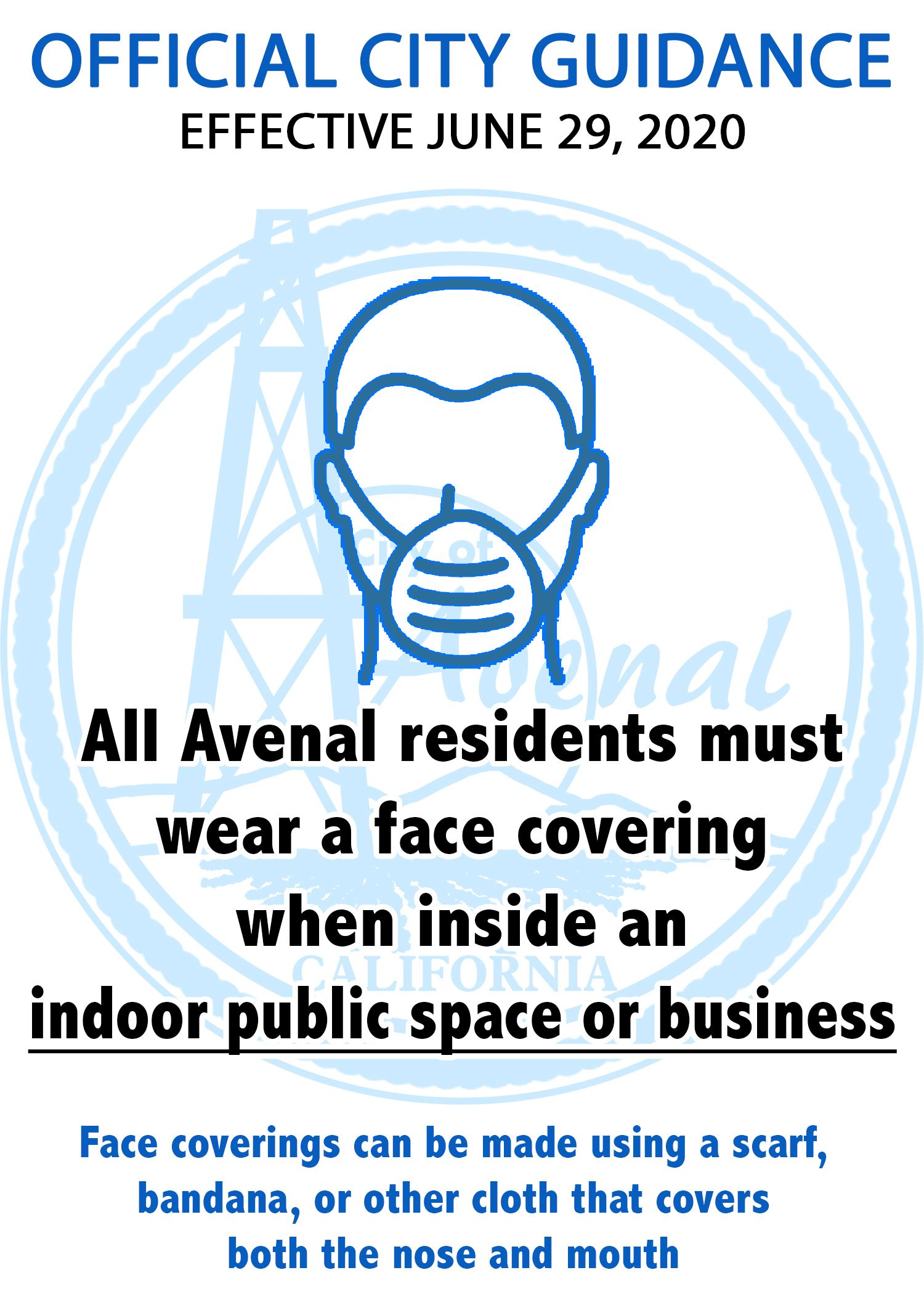 Avenal Mask Guidance Ltr Size