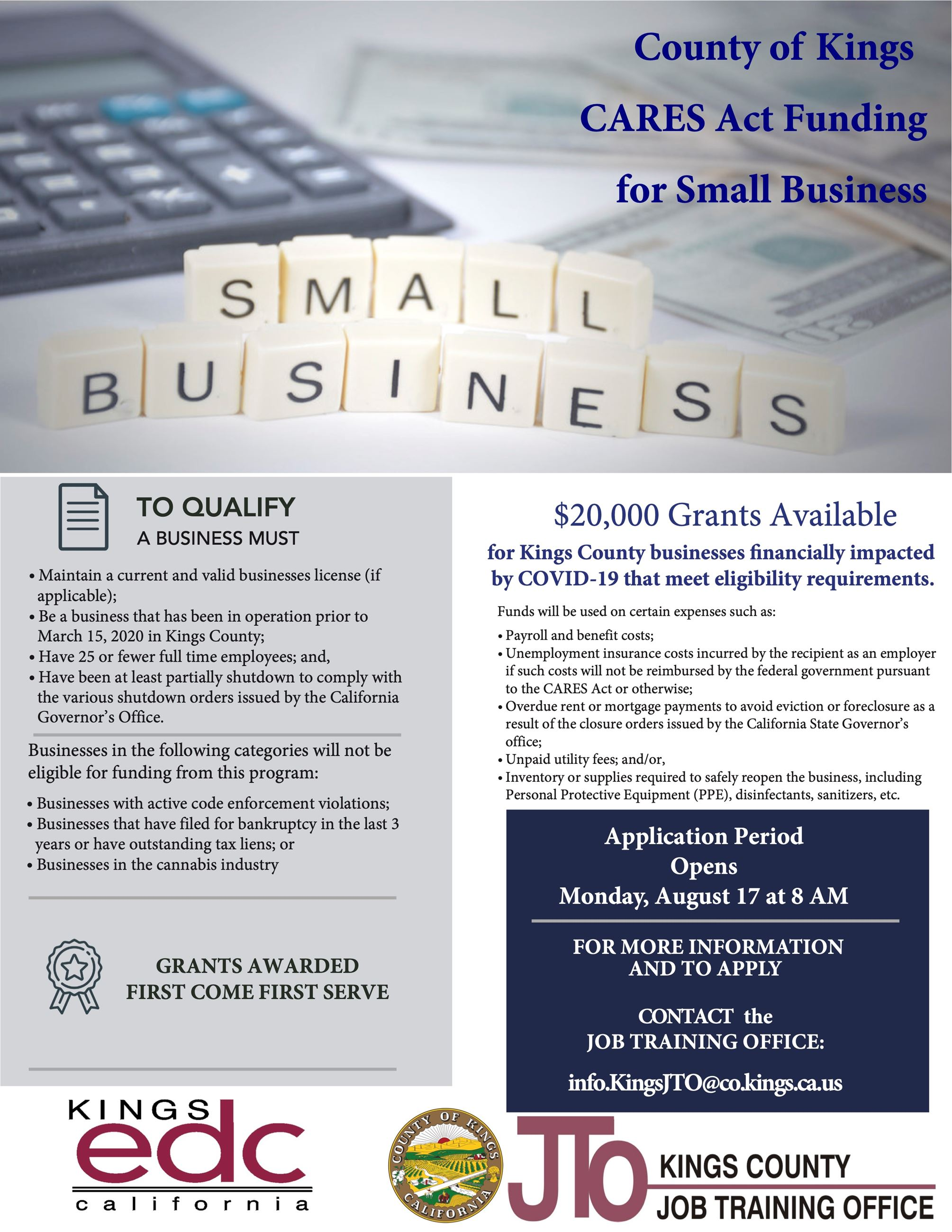Kings County Small Business Grant